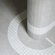 The mosaic tilework  a leading feature of floor, flooring, line, plumbing fixture, product design, tile, gray