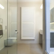 Adjustable shutters optimise light and privacy by turn. ceiling, daylighting, door, floor, flooring, home, interior design, window, gray, white
