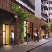 A perspective of an activated laneway in Willis building, mixed use, black