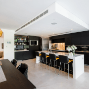 On this kitchen project, access to a generous architecture, house, interior design, kitchen, living room, real estate, room, table, white, gray