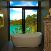 Soaking in the view  coping with site bathroom, home, house, interior design, room, window, brown