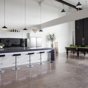 Part of a greater warehouse conversion, this kitchen countertop, floor, flooring, furniture, interior design, kitchen, product design, table, gray