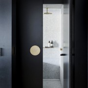This bathing pod insert in an apartment master architecture, daylighting, door, floor, glass, house, interior design, black