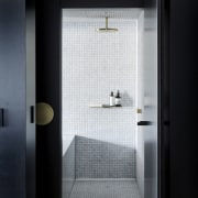 The bathing pod insert in an apartment master architecture, door, floor, glass, interior design, black