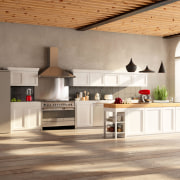 Designed with the look of a stylish piece countertop, cuisine classique, floor, flooring, interior design, kitchen, white, brown
