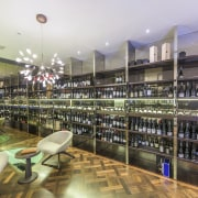 This upmarket home has an extensive wine cellar interior design, liquor store, retail