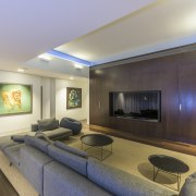 A cove ceiling delineates the entertainment area in ceiling, interior design, living room, real estate, room, gray