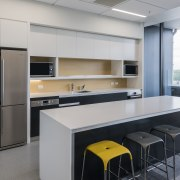 This kitchen in the new UniMed building offices cabinetry, countertop, interior design, kitchen, office, product design, gray