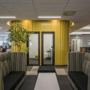 Beam me up  this bright yellow pod interior design, lobby, gray, black