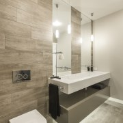 Double mirrors indicate areas of use in the architecture, bathroom, floor, flooring, interior design, plumbing fixture, product design, room, sink, tap, tile, wall, gray