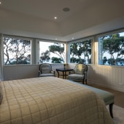 Prime position this generous-sized master bedroom has panoramic bedroom, ceiling, estate, home, interior design, property, real estate, room, window, window treatment, gray, black