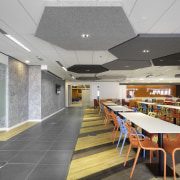 Hexagonal ceiling elements help dampen ambient noise in cafeteria, ceiling, daylighting, institution, interior design, lobby, gray
