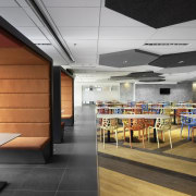The staff cafeteria on this communal floor features cafeteria, ceiling, interior design, gray