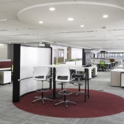 Open break out areas are part of the ceiling, interior design, office, product design, gray