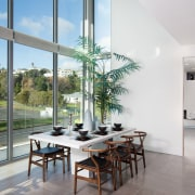Interiors flooded with light reflect the finest materials apartment, architecture, home, house, interior design, living room, property, real estate, table, window, gray, white