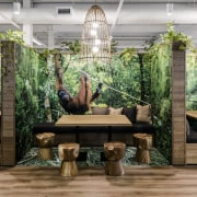 Playful and inviting, these collaboration booths in the courtyard, furniture, garden, houseplant, interior design, outdoor structure, patio, plant, table, tree