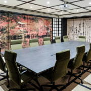 Japanese Edo-period architecture comes to life in the conference hall, dining room, furniture, interior design, table, black, gray