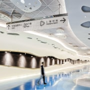The Shanghai Towers lower level links the retail architecture, ceiling, design, interior design, leisure centre, product design, structure, white, gray