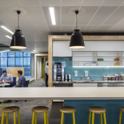 As well as a main cafe/food hub on countertop, interior design, gray