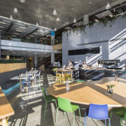 The ground floor cafe in the Fonterra Centre cafeteria, gray