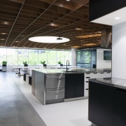 The Social Kitchen at the heart of the architecture, ceiling, countertop, interior design, kitchen, gray, brown