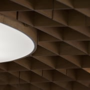 2D plywood forms were slotted together to create angle, architecture, ceiling, daylighting, interior design, light, lighting, line, product design, symmetry, wall, wood, brown