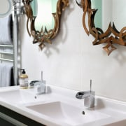 Recessed pulls on this vanity contribute to the bathroom, ceramic, interior design, plumbing fixture, room, sink, tap, white
