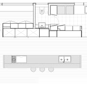 This kitchen design includes a pantry and laundry architecture, area, black and white, design, diagram, drawing, elevation, floor plan, font, line, line art, plan, product, product design, structure, technical drawing, text, white