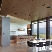 The owners choice of applewood veneer cabinetry for architecture, ceiling, daylighting, floor, house, interior design, real estate, window, brown