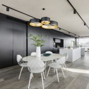 In this apartments open-plan living and kitchen space, ceiling, interior design, loft, office, product design, gray