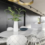 Circular lighting for a circular setting in this ceiling, chair, dining room, furniture, interior design, product design, table, gray