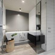 The vinyl plank floor extends right through this bathroom, floor, interior design, room, tile, gray
