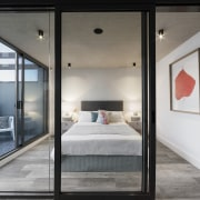 Internal glass walls optimise light penetration into the architecture, door, house, interior design, window, gray, black