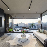 Indoor-outdoor connection  a large deck accessed by architecture, estate, home, house, interior design, living room, property, real estate, window, gray