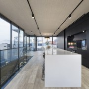 Indoor-outdoor connection  a large deck accessed by apartment, architecture, house, interior design, real estate, gray, black