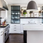 Rustic touch  on this elegant kitchen design cabinetry, countertop, cuisine classique, floor, flooring, hardwood, home, home appliance, interior design, kitchen, room, wood flooring, white