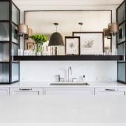 Translucent glass and steel cabinets evoke Chicagos skyscrapers countertop, cuisine classique, furniture, interior design, kitchen, product design, shelf, shelving, white