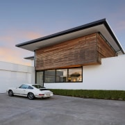 Cedar cladding on this home will silver while architecture, building, facade, home, house, luxury vehicle, property, real estate, residential area, gray