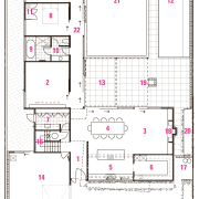 1 entry, 2 lounge, 3 living, 4 dining, area, design, drawing, floor plan, line, plan, white