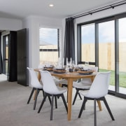Long vistas add to the sense of space dining room, floor, interior design, property, real estate, room, table, window, gray