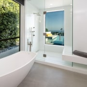 Placing the shower next to the window in bathroom, estate, floor, interior design, property, real estate, room, window, white
