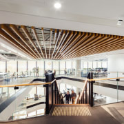 The organic design of the Mirvac HQ fit-out architecture, ceiling, daylighting, interior design, lobby, gray