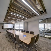 A boadroom in the Mirvac head office fit-out architecture, ceiling, conference hall, daylighting, interior design, table, gray