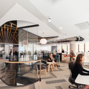 Natural light, extended sightlines and human interaction were ceiling, interior design, lobby, office, white