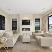 The ceilings in this home are painted in home, interior design, living room, property, real estate, room, window, gray