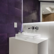Take two white walls, a white marble floor architecture, bathroom, bathroom accessory, bathroom sink, ceramic, floor, interior design, plumbing fixture, product design, purple, sink, tap, tile, gray, purple