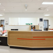 Timber elements feature throughout the Burwood Hospital Extension desk, furniture, interior design, office, product design, gray