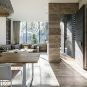 Harmonising with the homes external weathering wood cladding, architecture, ceiling, floor, flooring, house, interior design, table, wood, wood flooring, gray
