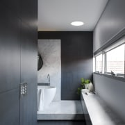 The designer chose to create a real sense architecture, bathroom, ceiling, daylighting, floor, house, interior design, product design, gray, black