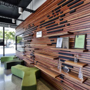 The reception at the Kathmandu headquarters in Christchurch architecture, furniture, interior design, wood, red